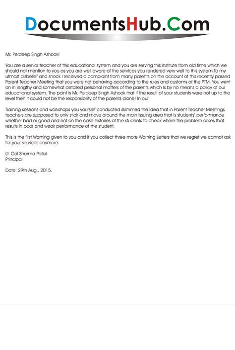 warning letter  teacher misconduct sample