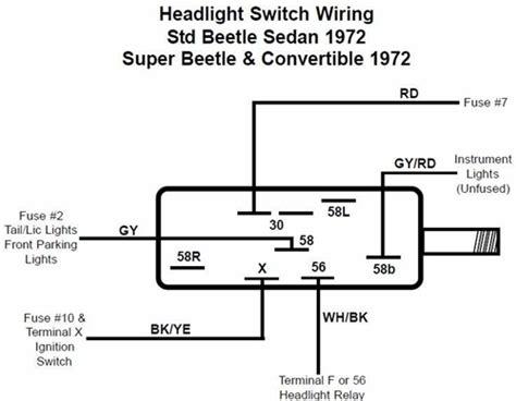 headlight switch 1971 77 vw beetle ghia and type 3 1971 72 super beetle 113 941 531e