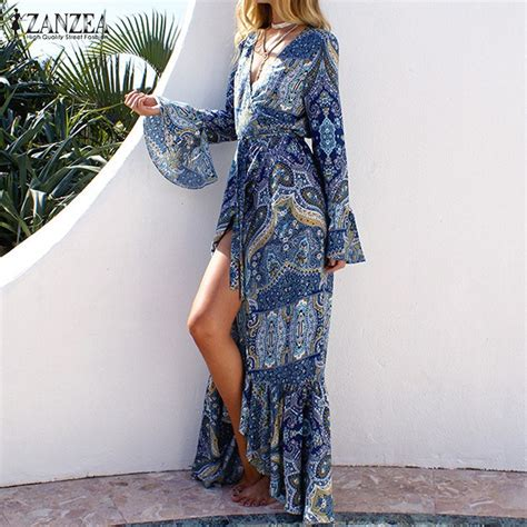 30307acb00f6 Boho Maxi Dress With Sleeves
