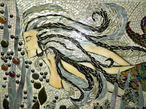 Stained Glass Mosaic Mermaid Mural  Master Bath