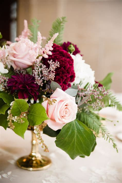 Burgundy Dahlia Pink Rose Seeded Eucalyptus Wedding
