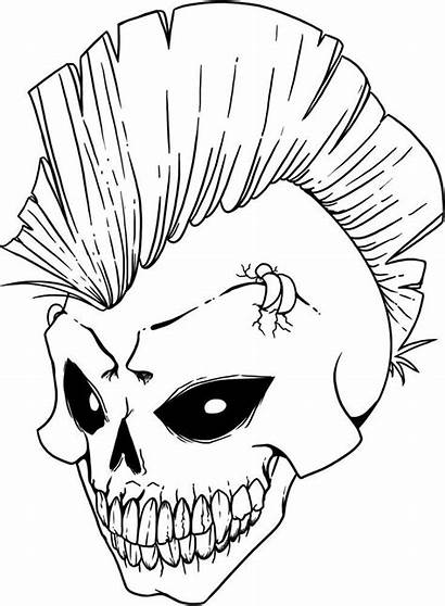 Drawings Scary Skull Coloring Skulls Printable Pages
