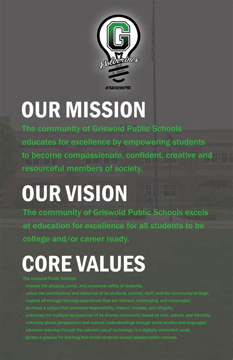 mission vision core values griswold public schools
