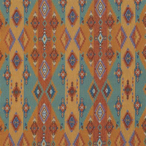 Bright Upholstery Fabric by Bright Southwestern Stripes And Diamonds Woven Upholstery