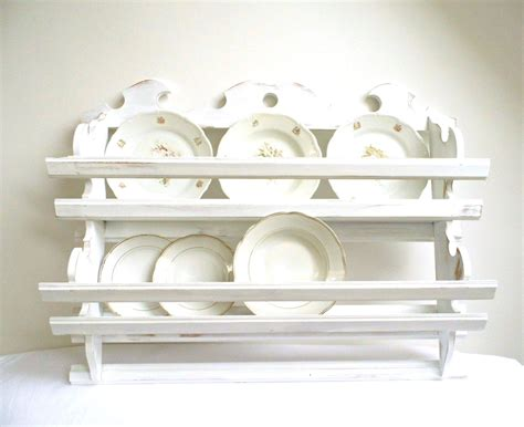 vintage plate rack wall holder tea cup shelf storage kitchen organizer wood hanging white