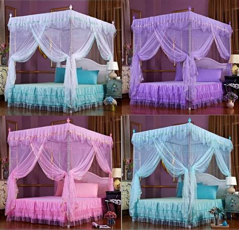 lace flower 4 corner post bedding canopy mosquito netting