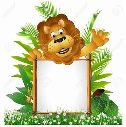 Jungle Border Lion Clipart Frame Cartoon Zoo