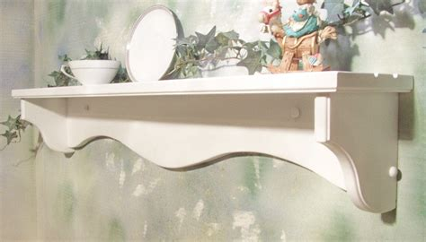white   solid wood country wall shelf  plate grooves