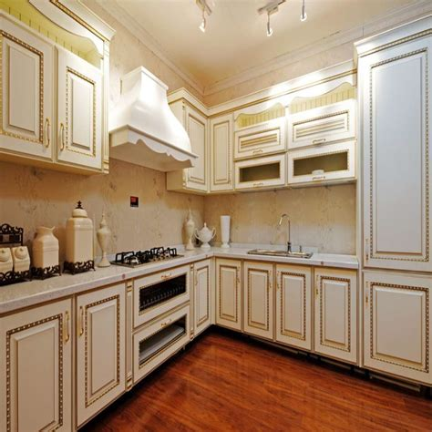 elegant white  shaped solid wooden kitchen cabinet