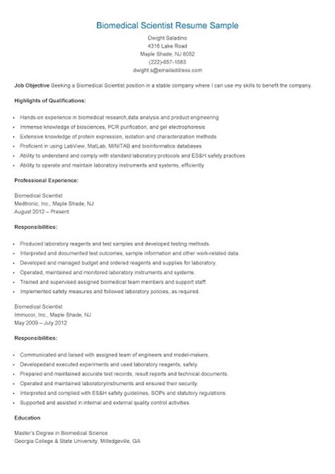 Biomedical Service Technician Resume by Resume Sles Biomedical Scientist Resume Sle