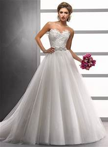 A LinePrincess Sweetheart Court Train Lace Tulle Wedding