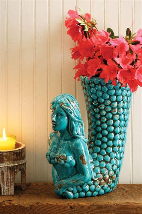 selling turquoise ceramic mermaid vase