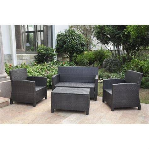 Patio Settee by 4 Outdoor Patio Settee Set In Antique Black And Aqua