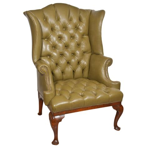 wingback chair 18th century tufted leather wing chair