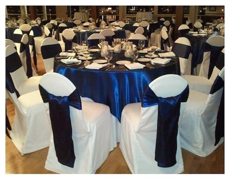 royal blue and white linens at wedding reception google