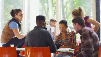 Diverse College Students Working Together