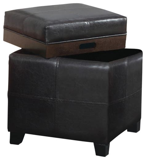 leather ottoman with storage and tray faux leather storage ottoman with reversible tray brown