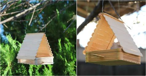 cute diy bird feeder   craft sticks