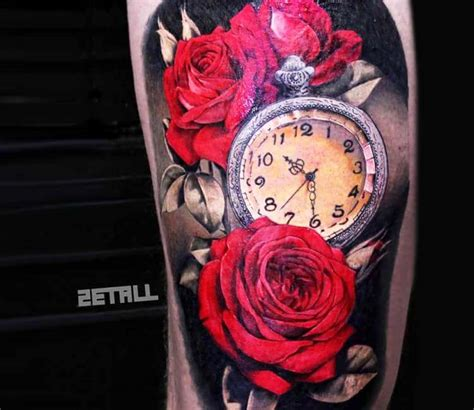 red roses  clock tattoo  victor zetall post