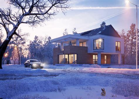 türkranz winter modern modern house in winter on behance