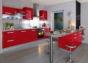 Idee relooking cuisine interieur rouge et blanc deco for Idee deco cuisine avec meuble de cuisine rouge et gris