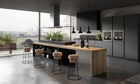 ilot cuisine design cuisine moderne et design gris anthracite et bois