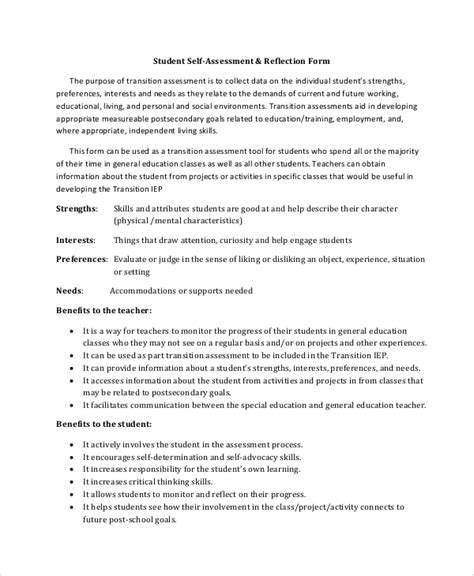 Student Self Evaluation Templates by Self Assessment Template 7 Word Pdf Documents