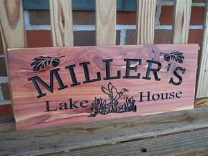 Lake, House, Sign, Personalized, Wooden, Carved, Housewarming, Gift