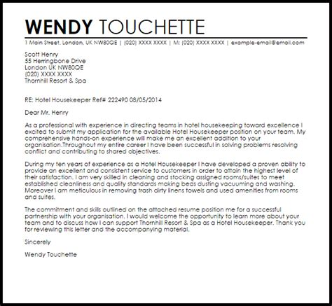 Housekeeper Cover Letter by Cover Letter Sle For Housekeeping The Best
