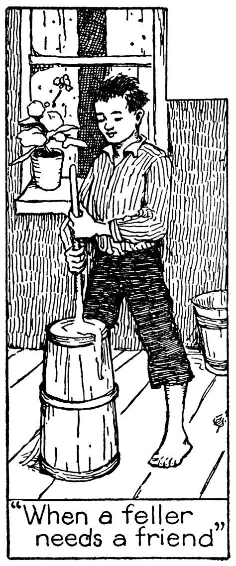 churning butter clipart