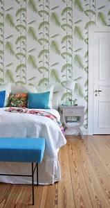 unser schlafzimmer mit palmen tapete happyhomeblog With balkon teppich mit cole son tapete