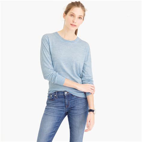 merino wool sweater womens j crew featherweight merino wool crewneck sweater in blue