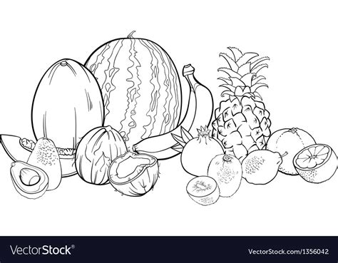 tropical fruits  coloring book royalty  vector image