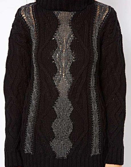 Asos River Island Cable Knit Roll Neck Sweater In Black Lyst