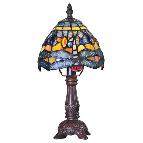 River of Goods 12 in. Multi Colored Stained Glass Accent Lamp with Mini Hanging Head Dragonfly