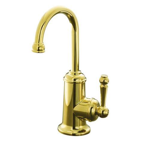 polished brass kitchen faucet shop kohler wellspring vibrant polished brass 1 handle