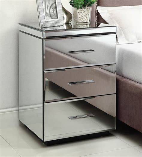rio mirrored bedside table chest nightstand  drawer