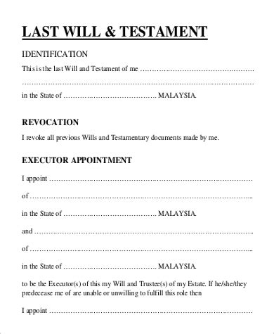 Simple Will Template 9 Simple Will Forms Sle Templates
