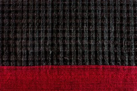 Red And Black Pattern Fabric Texture Background Stock