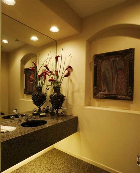 colorful bathroom decorating  flowers adds luxury