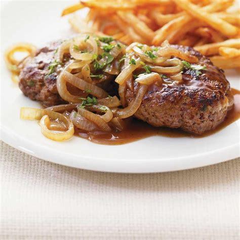 recettes cuisine et vins de steaks de hambourg à l 39 oignon et au vinaigre balsamique
