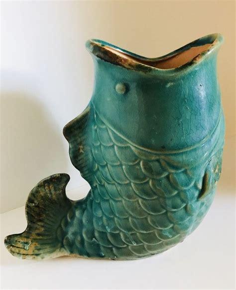vintage koi fish planter drip glaze pottery large ceramic