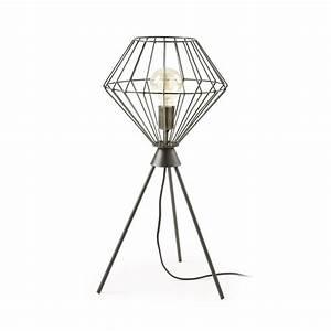 Lampe A Poser Design : lampe cage poser en m tal noir cabana par ~ Dailycaller-alerts.com Idées de Décoration