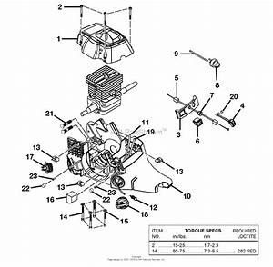 Homelite 540 Chain Saw Ut-10550 Parts Diagram For Engine Housing - Fuel Tank