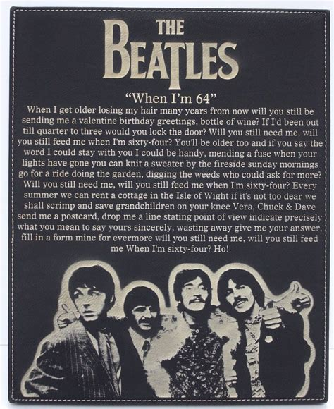 The Beatles When I'm 64  Leatherette Wall Hanging Wall