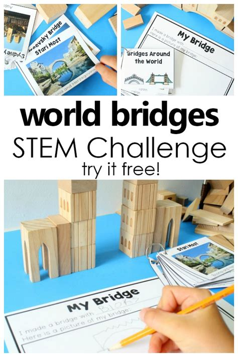 free stem activities for building bridges homeschool 122 | World Bridges STEM Challenge Set Fun STEM activity for preschool and kindergarten. Use in block center STEM area or as a group challenge preschool kindergarten STEM freeprintable