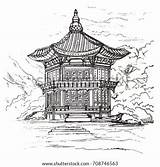 Korea Palace Gyeongbokgung Sketch Hyangwonjeong Shutterstock Pavilion Seoul sketch template