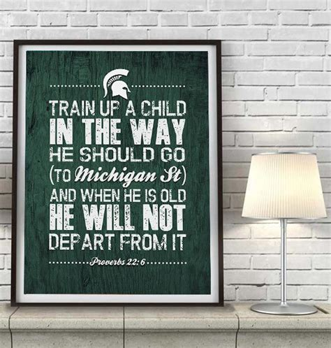 "Michigan State Spartans Inspired ""train Up A Child"" Art. Decoration Christmas Tree. Room Decorations Ideas. Upholstered Dining Room Set. Lightning Mcqueen Room Decor. Home Decor Design. Hot Air Balloon Room Decor. Michaels Wall Decor. Sofia Party Decorations"