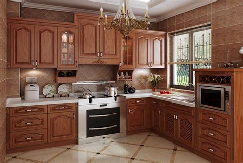 classical design solid wooden door kitchen set