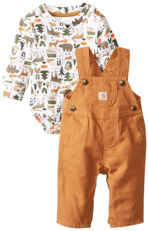 carhartt baby boys canvas bib overall set carhartt brown